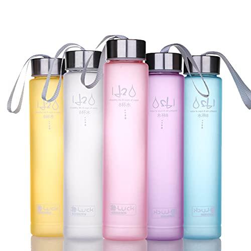 Botella de agua deportiva de plástico sin BPA, boca ancha, delgada, con tapa a prueba de fugas, para correr, gimnasio, yoga, al aire libre, 280 ml