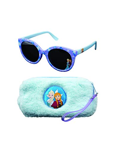 Disney Frozen Frozen Sunglasses &Soft Fuzzy Carrying Case Set for Girls - 100% UV Protection for Kids, Frozen4, One Size