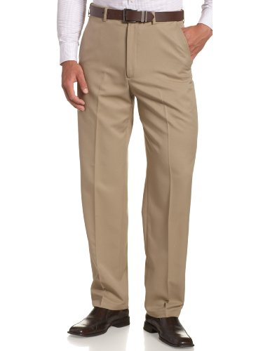 Haggar Men's Cool 18 Hidden Expandable-Waist Plain-Front Pant British Khaki 38x30