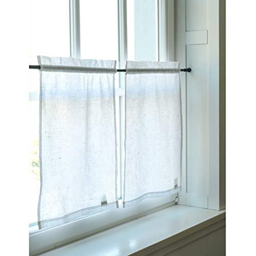 Leinen Scheibengardine - Bistrogardine aus Leinen - Küchegardine - kurze Gardine für Küche - 45 (B) x 60 (H) cm