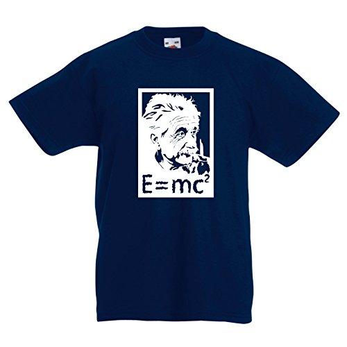 lepni.me Kinder Jungen/Mädchen T-Shirt Physikwissenschaftler Albert Einstein, Geschenk für Wissenschaftsliebhaber (9-11 Years Dunkelblau Weiß)