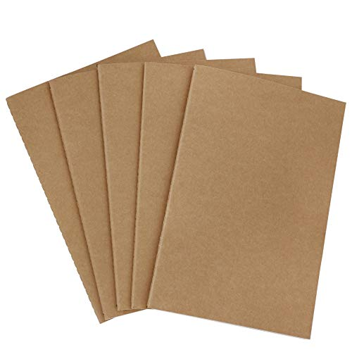 Blocco Note A5, Quaderno Schizzi per Copertina Carta, Set da 5 Sketchbook Diario, Tascabile Taccuino per Appunti Pittura Graffiti e Registrare (30 Fogli/Righe)