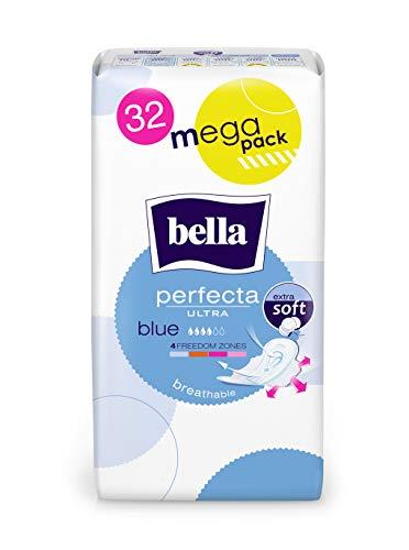 Bella Perfecta Ultra Binden Blue Mit Flügeln Extra Soft, 1er Pack (1 X 32 Stück), Parfümfrei Und Atmungsaktiv