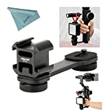 Ulanzi PT-3 3 in 1 Triple Hot Shoe Mount Adapter Converter by-MM1 Microphone Stand Bracket LED Video Light Holder for Zhiyun Smooth 4 /Smooth Q for DJI OSMO Mobile 2 for Moza Mini-MI