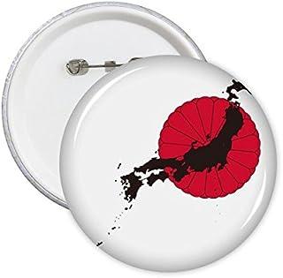 DIYthinker Japon Culture japonaise Rouge Style Noir National Emblem Chrysanthème Carte d'art Illustration rond Motif Pins ...