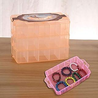 シンプルライフ、ライフアシスタント 大型収納ボックス3層大型36スロットプラスチッククラフトアクセサリーひげジュエリー収納ボックスコンテナホームオーガナイザー(オレンジ)、収納ボックスは、家やオフィスを清潔に保つことができます。 (色 : オレンジ)