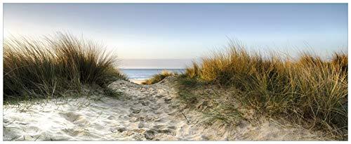 Wallario Acrylglasbild XXL Weg durch die Dünen zum Strand am Meer - 80 x 200 cm in Premium-Qualität: Brillante Farben, freischwebende Optik