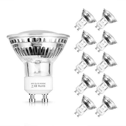 Fulighture LED bombillas GU10 Spot, 4W no regulable (50W bombilla halógena equivalente), 380 lumen 120 ° ángulo de haz, 6000K bombillas blancas frescas, paquete de 10