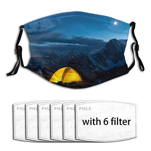 ZELXXXDA Twilight Mountain Panorama und Zelt,Staubwaschbarer wiederverwendbarer Filter und wiederverwendbarer Mundschutz gesicht mit 6 Filtern