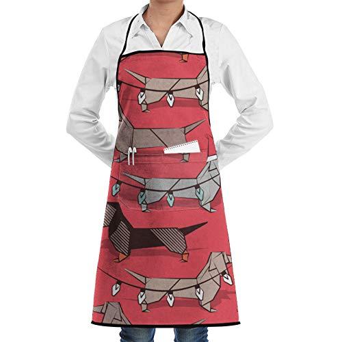 Nother Origami - Delantal de chef, diseño de perro salchicha de perro salchicha (impermeable, ajustable, 1 bolsillo), color rojo