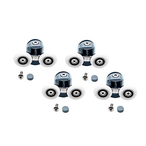 4 Stuks/Set Lagers Roller Sliding Douchecabine Riemschijven, Zinklegering Verchroomde Loopwiel Deurrollen Hardware (Color : 4pcs double top, Size : 25mm)