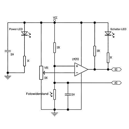 PEMENOL 6 Stk. G5516 Fotowiderstand Modul , 4 Anschlüsse Photodetektor Licht Sensor Modul LM393 Dual Comperator, Tageslicht Sensor / Fotosensor für Arduino, Raspberry Pi