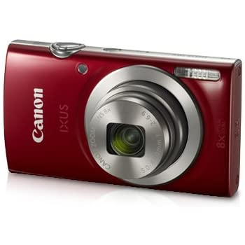 Canon IXUS 185 20MP Digital Camera with 8X Optical Zoom (Red) + Memory Card + Camera Case