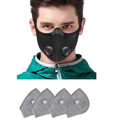 Sportmaske - Sport Maske mit Ventil fürs Training - Mundschutz Maske mit Filter - Atemschutzmaske mit Ventil - Schutzmaske mit Aktivkohle Filter - Masken mit Ventil von Toys4Boys (4-Filters)