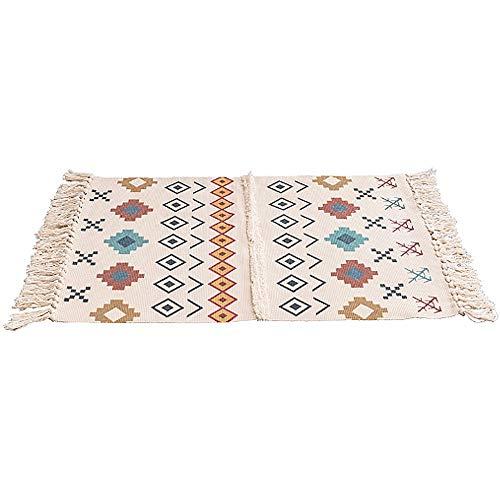 HSTD Alfombrillas de borlas Hechas a Mano Alfombrillas tridimensionales de Lino de algodón con mechones Alfombrillas para Puertas alfombras alfombras para Puertas Alfombrillas para la cabecera
