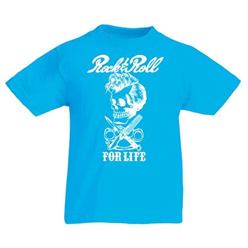 lepni.me Camiseta para Niño/Niña Rock and Roll For Life - 1960s, 1970s, 1980s - Banda de Rock Vintage - Musicalmente - Vestimenta de Concierto (7-8 Years Azul Claro Multicolor)