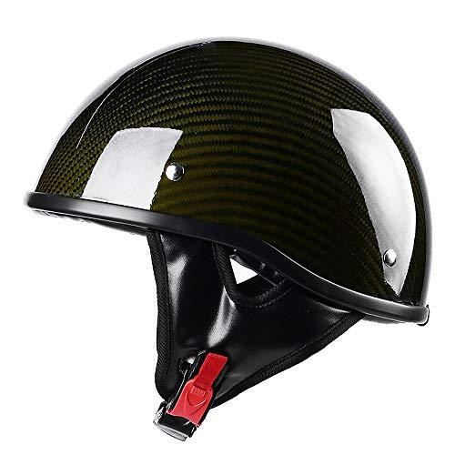 SJAPEX Carbon Fiber Harley Cascos Half-Helmet, Unisex Retro Casco Moto Cascos Abiertos de Motocicleta Half-Face Helmet, para Scooter Casco Clásico Alemán, Dot Homologado, 5 Colores