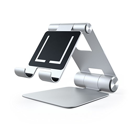 Satechi R1 Aluminum Multi-Angle Foldable Tablet Stand - Compatible with 2020/2018 iPad Pro, 2020 iPad Air, iPhone 12 Pro Max/12 Mini/12, 11 Pro Max/11 Pro, Xs Max/XS/XR/X, 8 Plus/8 (Silver) Photo #4