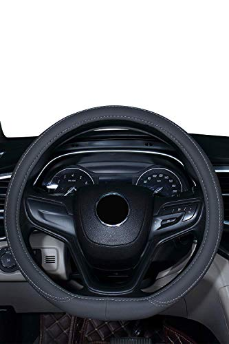 coofig Leather Hand Sewing Fashion, Breathable, Skidproof Car Steering Wheel Cover Universal 15inch (Gray,D Type)