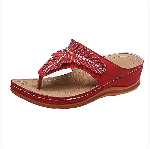 XWCG Sandalias de Plataforma para Mujer Sandalias de Cuña Zapatos de Verano con Sandalias Punta Abierta Comodas Zapato Vintage Sandal Sandal,Rojo,39