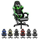 Soontrans Green Gaming Chair,Racing Gamer Chair for Teens, Ergonomic Game Chair with Adjustable Headrest and Lumbar Support (Jungle Green)
