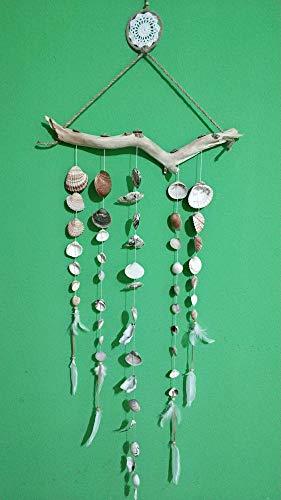 Botellas con suerte - Sonajero de viento con conchas de mar naturales