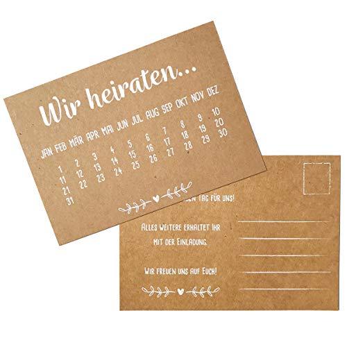 Partycards Hochzeitseinladungen 'Wir heiraten' echtes Kraftpapier mit weißem Druck 60 Karten DIN A6 Einladungskarten Hochzeit 'Save the Date'
