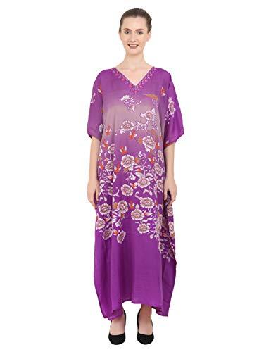 Kaftan Tunika Mehrfach Größen Einschließlich Plus Größe Strand Abdeckung Oben, Maxi Kleid, Schlafanzüge Stilvoll und Glamourös Kimono [Lila 52-56]