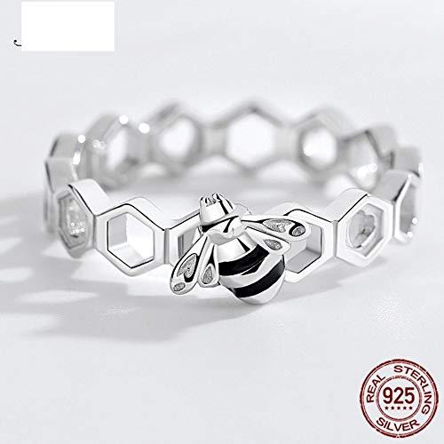 THTHT Honing Bee Hart Sterling 925 zilveren ringen liefde Multi kleuren Bee Honingraat Ringen Voor Vrouwen Mannen Sieraden 6