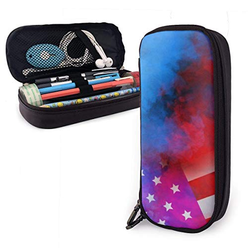 Pencil Case Pen Bag Psychedelic Colorful Smoke Style USA American Flag Pencil Case, Large Capacity Pen Case Pencil Bag Stationery Pouch Pencil Holder Pouch with Big Compartments