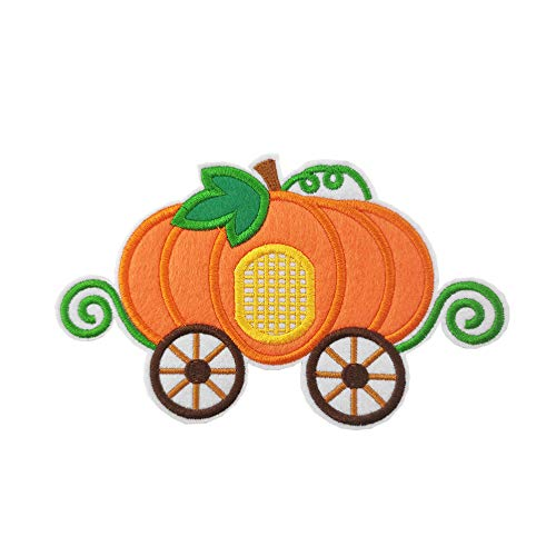 7' Halloween Punkin Pumpkin Carriage Embroidered Iron on Patch Fairy Tale