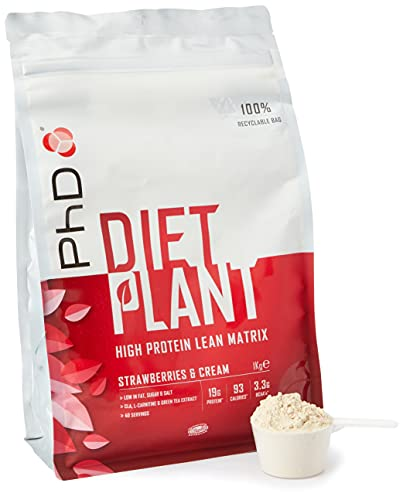 PHD Nutrition Diet Plant - Proteína, proteína baja en grasa, vegana y baja en azúcar, con fibra, fresas y crema, fórmula aromatizada para batidos de pérdida, 1kg
