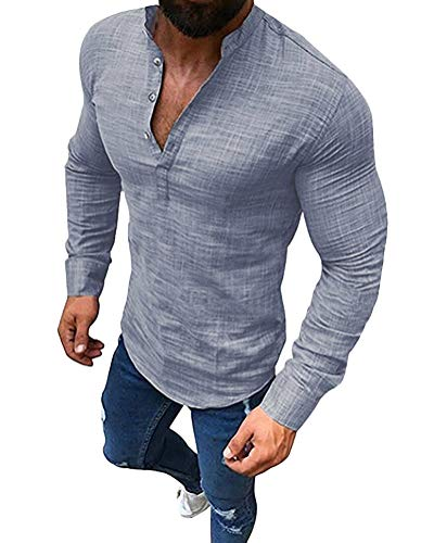 Tomwell Homme Chemise Col V Shirt Manches Longues Slim Fit Tops Mode Casual Plage Confortable Respirant Gris L
