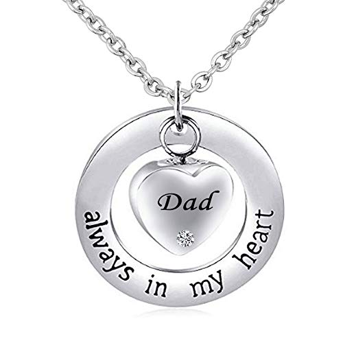 CharmSStory Urn Necklaces for Mom/Dad/Grandma Cremation Jewelry for Ashes Memorial Keepsake Necklace Pendant (Dad)