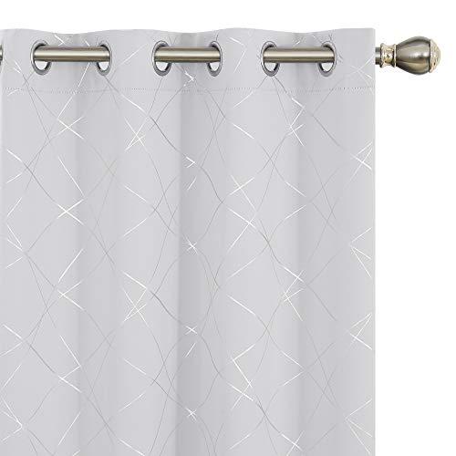 Amazon Brand – Umi Cortinas Opacas Dormitorio Moderno para Ventanas de Lino con Ollaos Juego de 2 Piezas 168x229cm Blanco Grisáceo