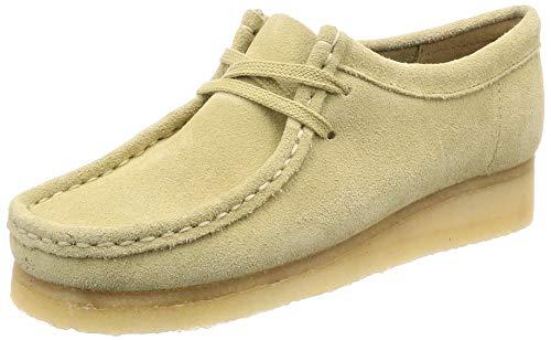 Clarks Wallabee, Zapatos de Cordones Derby para Mujer, Beige (Maple Suede Maple Suede), 38 EU