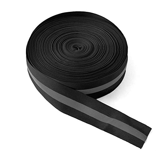 High Visibility Reflective Tape Strip, Fabric Florescent Reflective Safety Tape Sew-on Warning Safety Trim (Black, 1.97in0.79in)
