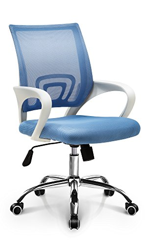 Neo Chair Latex Seat Modern Solid White Frame Premium Mesh Office Computer Desk Chair Durable Armrests Ergonomic Lumbar Support Adjustable Swivel Mid Back Tilt Home Task Chair Rolling Stool, Blue