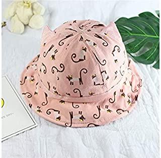 Baby Decoration Hat Kids Cat Sun Visor Sun Protection Hat Baby Packable Soft Bucket Cap for 8-36 Months(Pink) Cute Cap (Color : Pink, Size : 50cm)