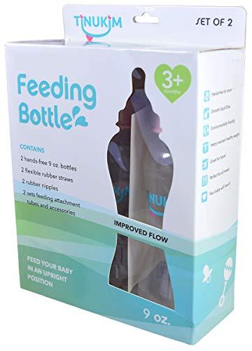 Tinukim iFeed 9 Ounce Self Feeding Baby Bottle with Tube - Handless Anti-Colic Nursing System, Pink - 2-Pack