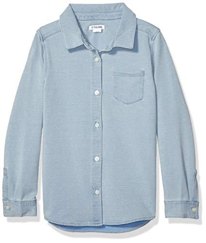 Spotted Zebra Knit Denim button-down-shirts, Bleach Wash, X-Small (4-5)