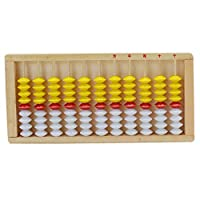 Abbraccia 11桁のロッド標準そろばん中国の電卓数学幼児のおもちゃのギフトを数える - 木製イエローレッドホワイト