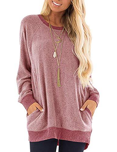 SEBOWEL Vrouwen Pullover Kleur Blok Lange Mouwen Zakken Sweatshirt T-Shirts