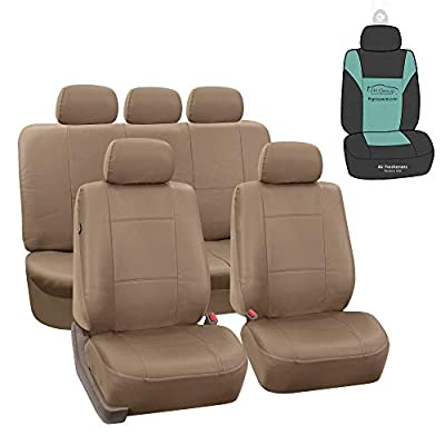 FH Group PU008115 Perforated Leatherette Full Set Car Seat Covers, Airbag & Split Ready, Solid Black Color w. Free Air Freshener - Fit Most Car, Truck, SUV, or Van