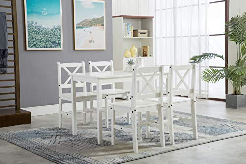 mcc-direct Classic Solid Wooden Dining Table and 4 Chairs Set Kitchen Home [Grey/White/natural] (White)
