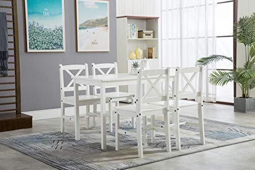 Klassische MCC Essgruppe, Set aus 4 Stühlen und Tisch, nordischer Chic, Kiefernholz (Weiß)