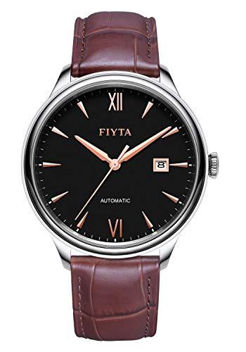 FIYTA jägare herrklocka automatisk svart med brunt läderband och datumvisning DGA10040.WBK