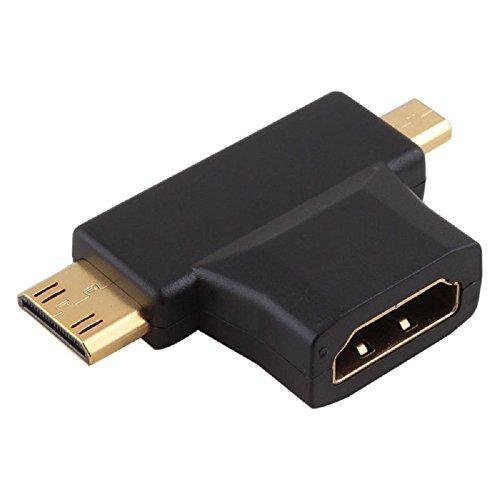 Adaptador Conector HDMI Hembra a Mini HDMI Macho y Micro HDMI Macho