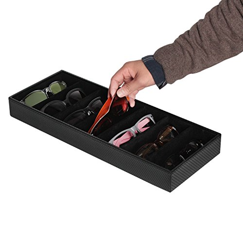 JackCubeDesign 7 Compartments Sunglasses Organizer, Leather Eyelgass Storage Tray Box for Table Desk Drawer (Carbon Design Black, 17.4 x 6.7 x 1.97) - MK378A