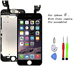 Premium Screen Replacement Compatible with iPhone 6 4.7 inch Full Assembly - LCD Touch Display Digitizer with Front Camera, Ear Speaker and Sensors, Compatible with All iPhone 6 (Black)
